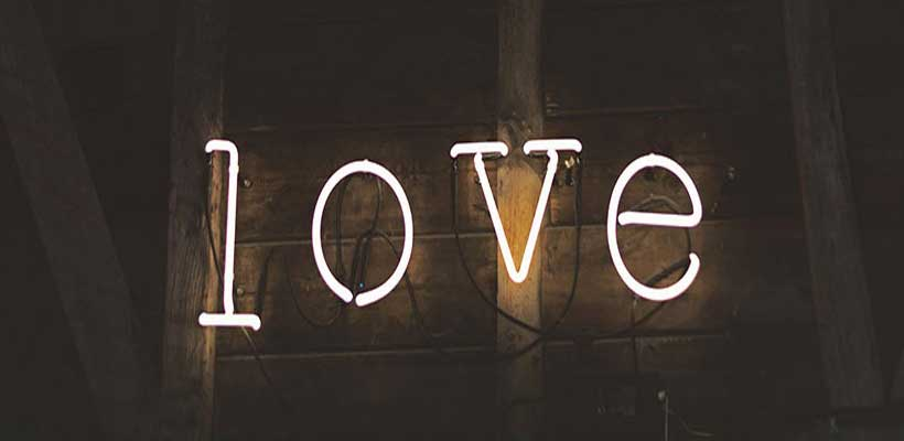 Light up letters spelling out the word love