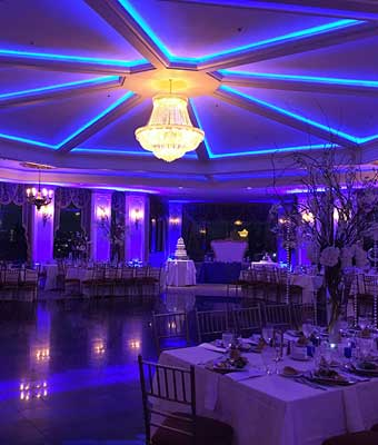 Ballroom with Purple Up Lighting Terrace on The Park