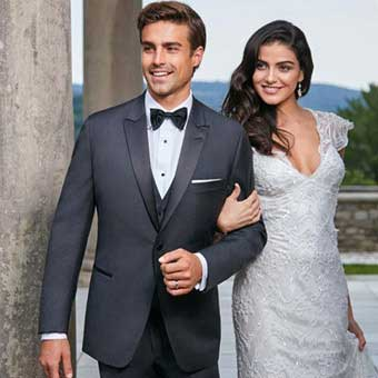 Groom in Grey Tuxedo along with Bride in Gown Foresto Tuxedo, Mineola.
