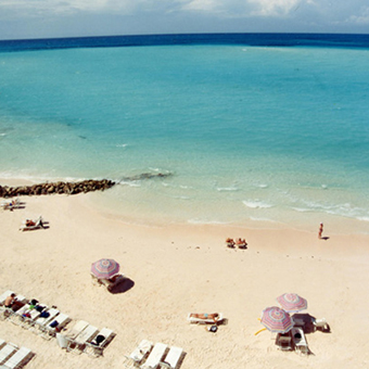 Arial  view of Pompano Beach Club Bermuda private beach.
